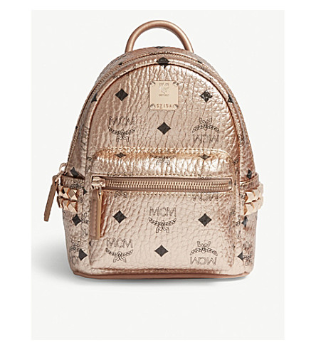MCM Metallic stud-detailed leather mini backpack (Champagne gold