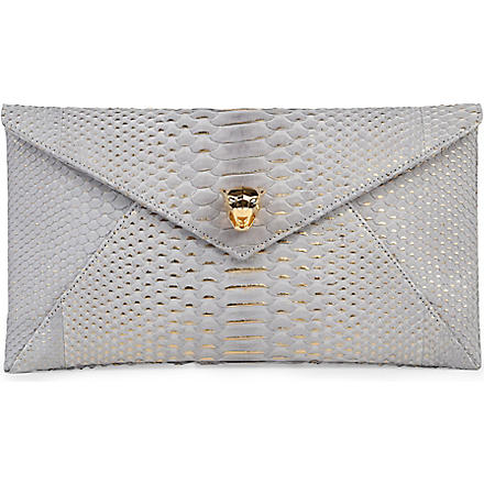 STARK Python envelope clutch (Grey
