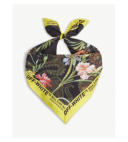 OFF-WHITE C/O VIRGIL ABLOH Floral silk scarf (Black+multi