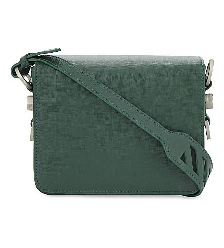 OFF-WHITE C/O VIRGIL ABLOH Grained leather flap shoulder bag (Green