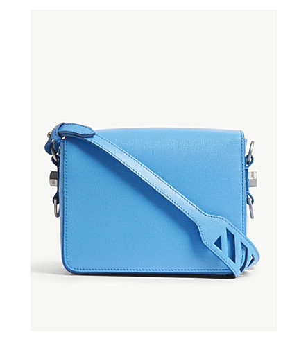 OFF-WHITE C/O VIRGIL ABLOH Grained leather shoulder bag (Light+blue