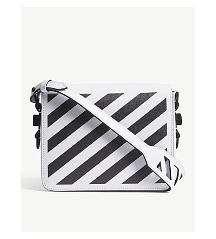 OFF-WHITE C/O VIRGIL ABLOH Diagonal-striped leather shoulder bag (White+blk