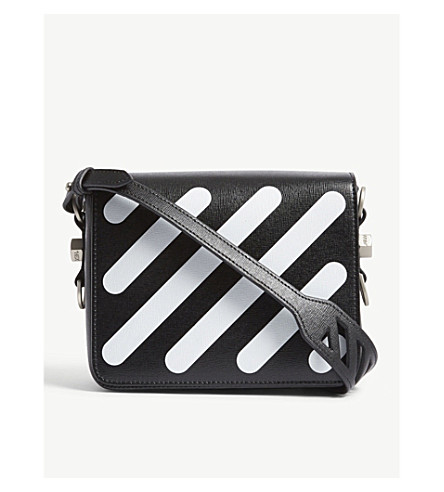 OFF-WHITE C/O VIRGIL ABLOH Diagonal-striped leather shoulder bag (Blk+white