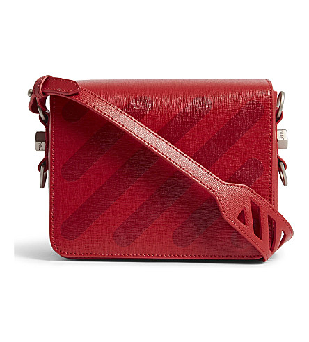 OFF-WHITE C/O VIRGIL ABLOH Diagonal stripe leather shoulder bag (Red+red