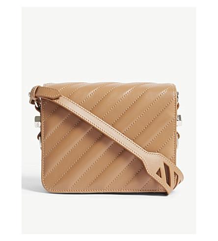 OFF-WHITE C/O VIRGIL ABLOH Diagonal stripe quilted leather shoulder bag (Brown