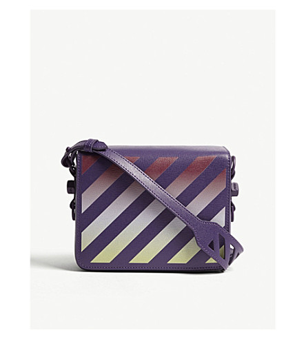 OFF-WHITE C/O VIRGIL ABLOH Gradient diagonal-stripe leather shoulder bag (Violet+multi