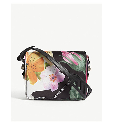 OFF-WHITE C/O VIRGIL ABLOH Floral-print leather shoulder bag (Multi