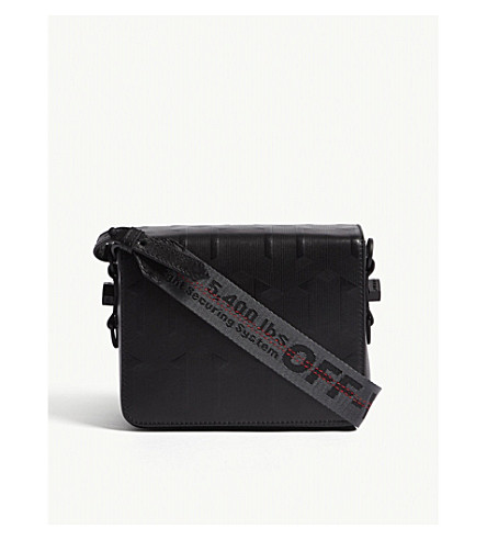 OFF-WHITE C/O VIRGIL ABLOH Embossed arrow leather cross-body bag (Black