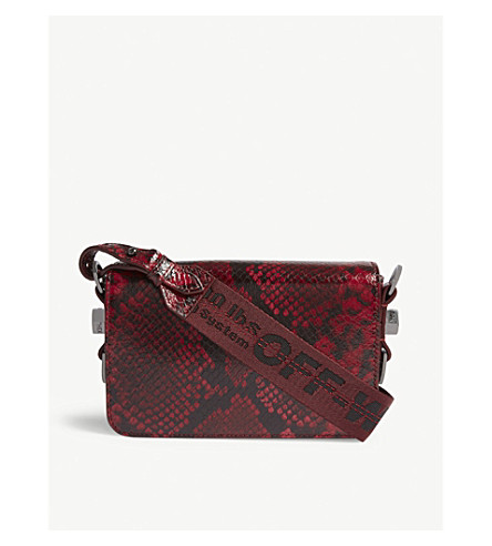 OFF-WHITE C/O VIRGIL ABLOH Phyton embossed leather cross-body bag (Red