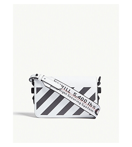 OFF-WHITE C/O VIRGIL ABLOH Diagonal-stripe leather cross-body bag (White+blk