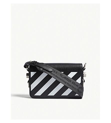 OFF-WHITE C/O VIRGIL ABLOH Diagonal-stripe leather cross-body bag (Blk+white