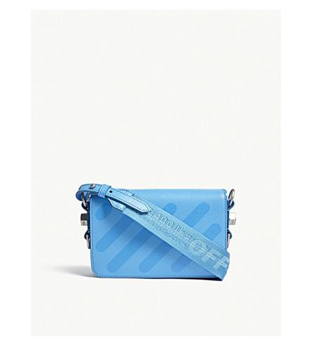 OFF-WHITE C/O VIRGIL ABLOH Diagonal-stripe leather cross-body bag (Light+blue