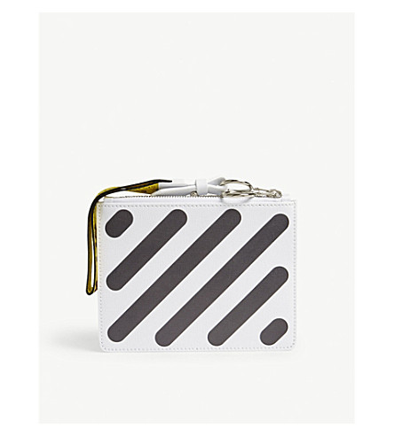 OFF-WHITE C/O VIRGIL ABLOH Diagonal-stripe leather pouch (White+black