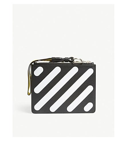 OFF-WHITE C/O VIRGIL ABLOH Diagonal-stripe leather pouch (Black+white