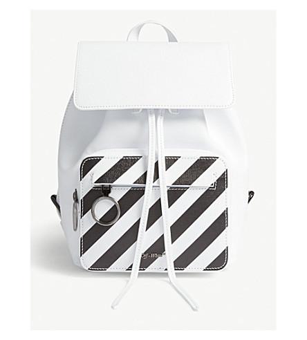 OFF-WHITE C/O VIRGIL ABLOH Diagonal stripe grained leather backpack (White+black