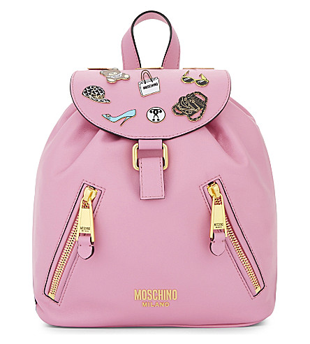 MOSCHINO Badges leather backpack (Pink