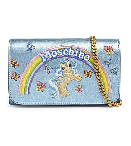 MOSCHINO My Little Pony leather shoulder bag (Light+blue