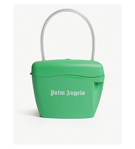 PALM ANGELS Padlock bag (Green+white