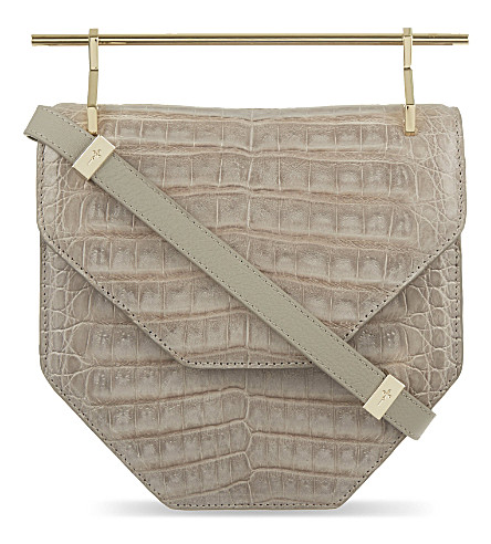 M2MALLETIER Amor fati crocodile leather bag (Grey+croc