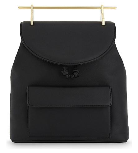 M2MALLETIER Gold bar leather backpack (Black