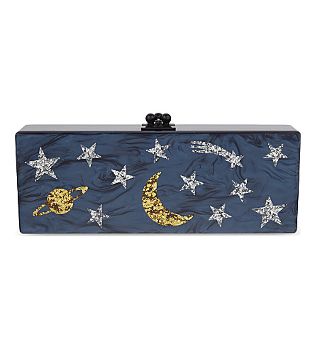 EDIE PARKER Flavia Solar System box clutch (Navy+glow+in+the+dark