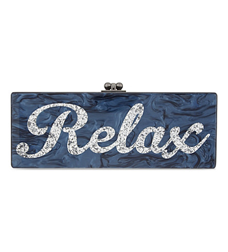 EDIE PARKER Flavia Relax box clutch (Midnyt+ble+w+slvr+con