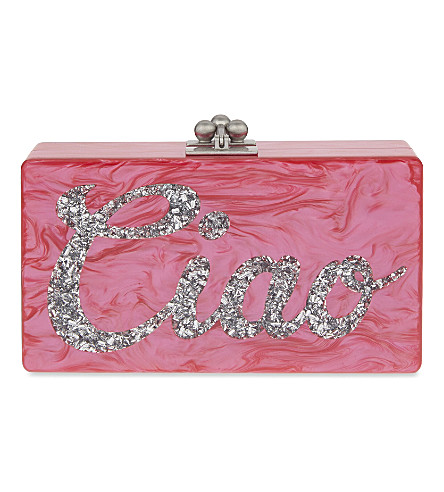 EDIE PARKER Jean Ciao box clutch (Hot+pink+w+white+pearl