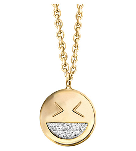 MISSOMA LTD Funny face 18ct yellow-gold vermeil and diamond pave necklace (Gold/diamonds