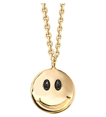 MISSOMA LTD Smiley face 18ct yellow-gold vermeil and diamond pave necklace (Gold