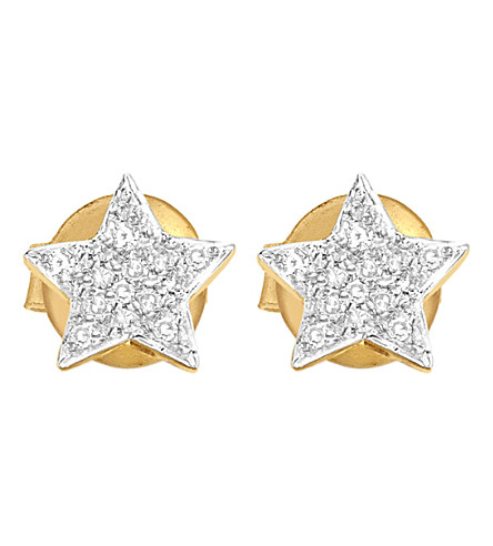 MISSOMA LTD Star 18ct yellow-gold vermeil and zircon pavé stud earrings (Gold