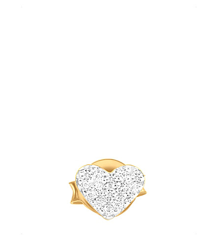 MISSOMA LTD Heart 18ct gold vermeil and zircon pavé stud earring (Gold+vermeil
