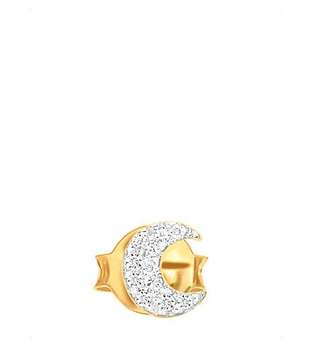MISSOMA LTD Moon 18ct gold vermeil and zircon pavé stud earring (Gold+vermeil