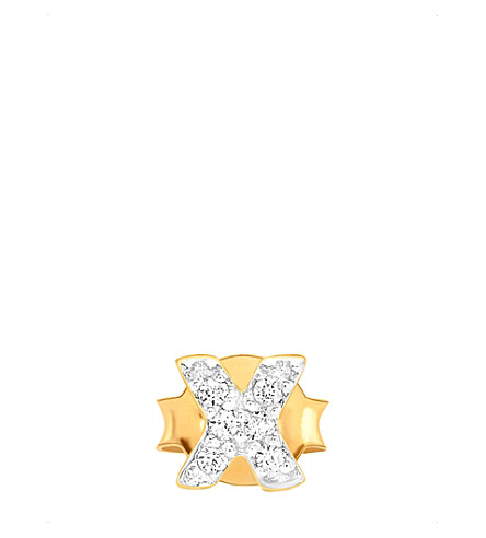 MISSOMA LTD Cross pavé 18ct gold vermeil stud earring (Gold+vermeil