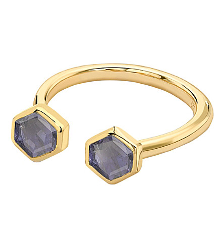 MISSOMA LTD Double bolt gold ring (Purple