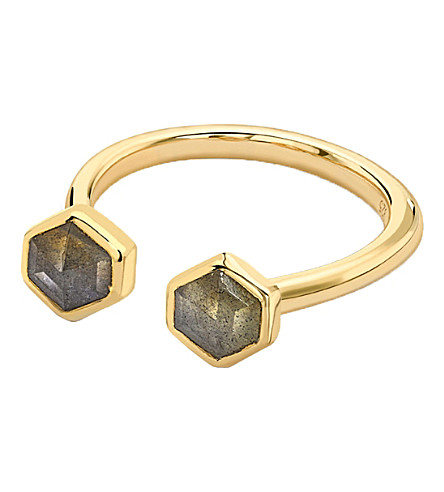 MISSOMA LTD Double bolt 18ct gold and iolite ring (Black