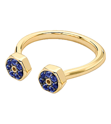 MISSOMA LTD Double Screw 18ct gold and sapphire ring (Blue