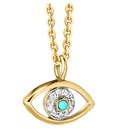 MISSOMA LTD Evil eye 18ct yellow-gold vermeil, topaz and turquoise necklace (Gold/diamonds