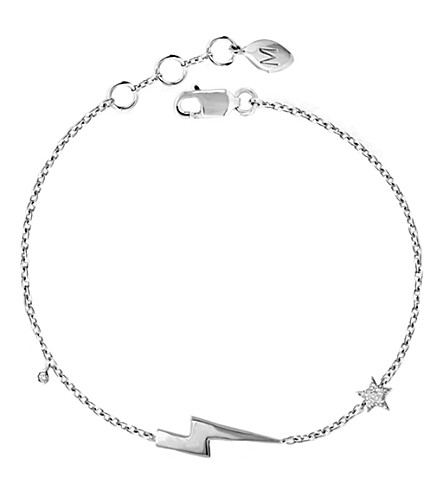 MISSOMA LTD Lightning sterling silver and pave charm bracelet (Silver