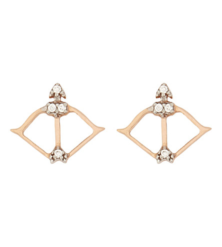 AAMAYA BY PRIYANKA Bow and Arrow 18ct rose gold-plated and white topaz earrings (Rose gold/white topaz