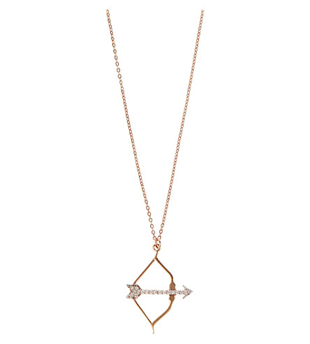 AAMAYA BY PRIYANKA Bow and Arrow 18ct rose gold-plated and white topaz necklace (Rose gold/white topaz