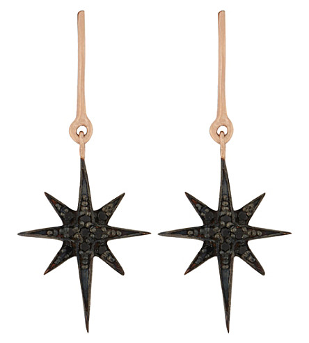 AAMAYA BY PRIYANKA Shooting Star 18ct rose gold-plated and black onyx drop earrings (Rose gold/black onyx
