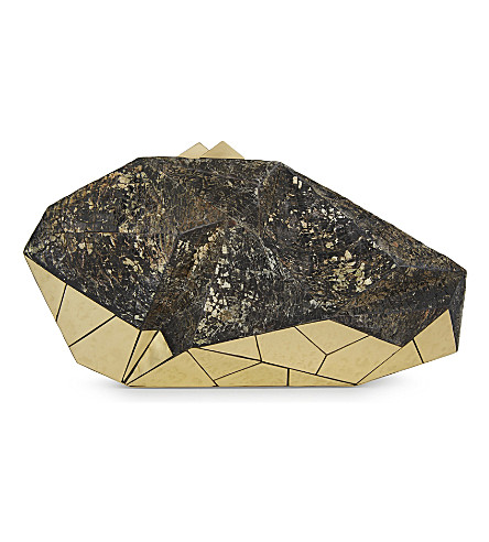 NATHALIE TRAD Polygonia clutch (Black+tab+raw+shell