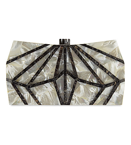NATHALIE TRAD Xestia Mother of Pearl box clutch (Mother+of+pearl