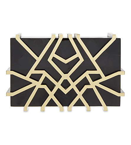 NATHALIE TRAD Eliferia box clutch (Black tab polish