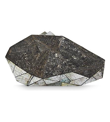 NATHALIE TRAD Polygonia clutch (Black+tab+raw