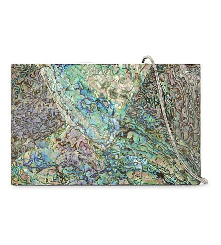 NATHALIE TRAD Neptune clutch bag (Paua+blue