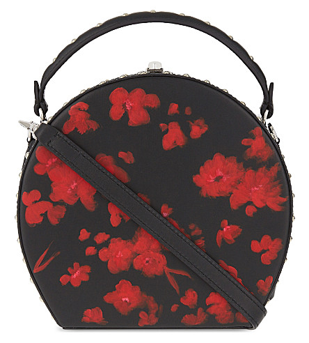 BERTONI 1949 Bertoncina round studded floral shoulder bag (Black/red