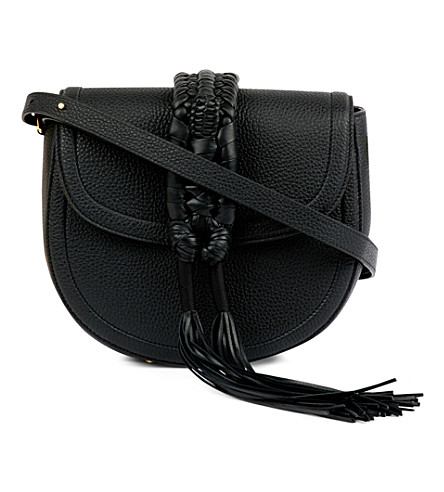 ALTUZARRA Ghianda knotted leather saddle bag (Black