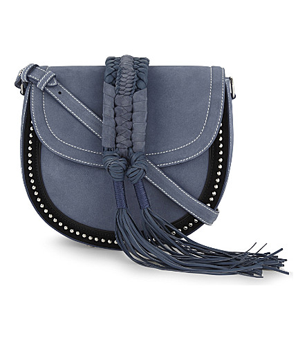 ALTUZARRA Ghianda suede saddle bag (Denim+blue