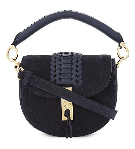 ALTUZARRA Ghianda suede saddle bag (Navy